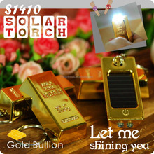 Factory Direct in Gold Bullion Shape Rechargeble Solar Led Light Keychain
