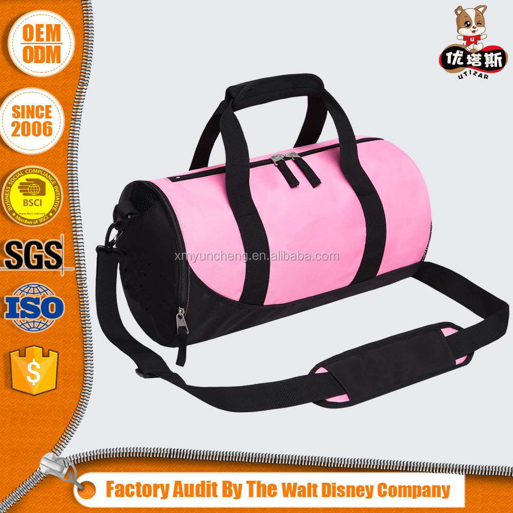 custom sport pink gym bag wholesale tote duffle travelling bag