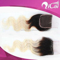 Qingdao Factory Wholesales Cheap Free Parting Ombre Brazilian Human Hair Lace Closure