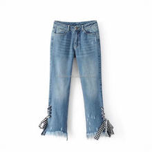 NS1083 hot sale women fashion bandage bow jeans design lady ripped jeans