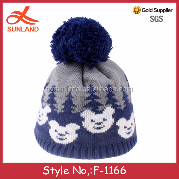 F-1166 cute bear pattern blue knitted children's winter beanie hats earmuffs wool ball ball cap