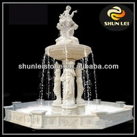 Outdoor stone fountain carving