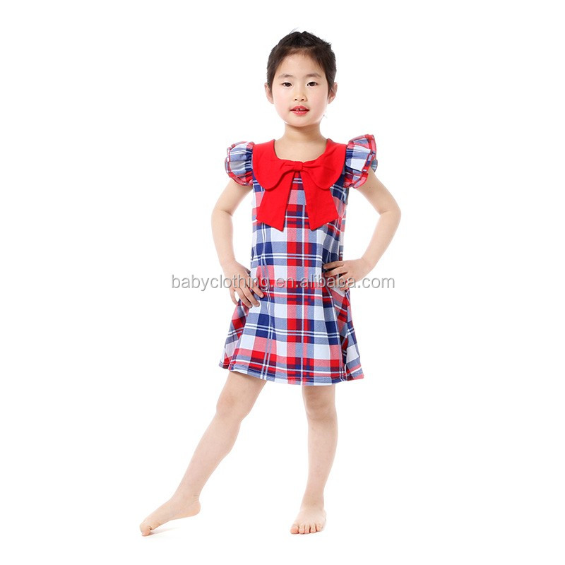 Latest chic kids clothes white blue patriotic frock design for baby girl with red bow