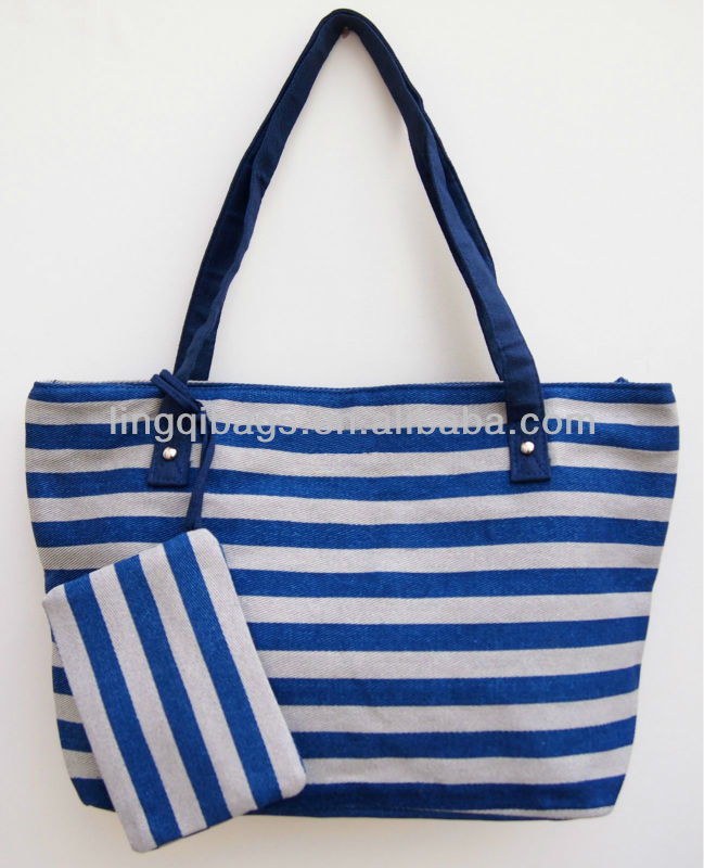 Go green striped canvas hand bags womens bags 2013
