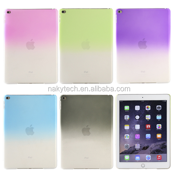 Simple style candy color crystal back cover translucence hard PC case for ipad 5/air