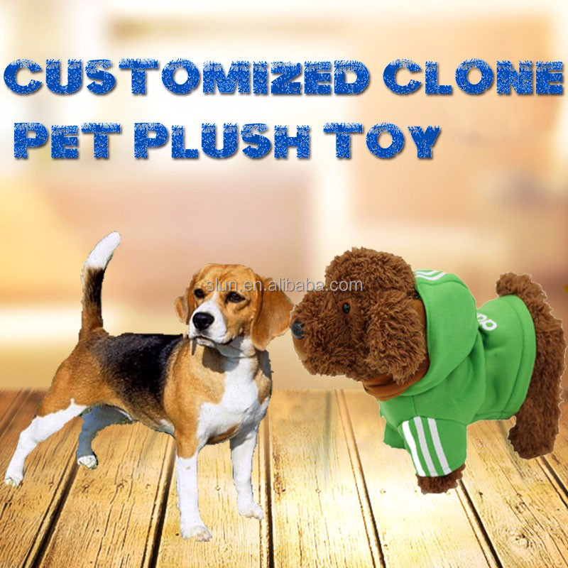 Simulated electronic bayan dog with navy clothes cuddle animal customized color cute musical plush toys