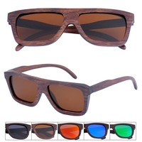 CD004A Brown Bamboo Flat Top Wooden Polarized Sunglasses