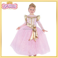 FD-40728SL Latest Fancy Items Pink Children Frocks Design Long Frog Dress Girl Party Dress Net Frock Design
