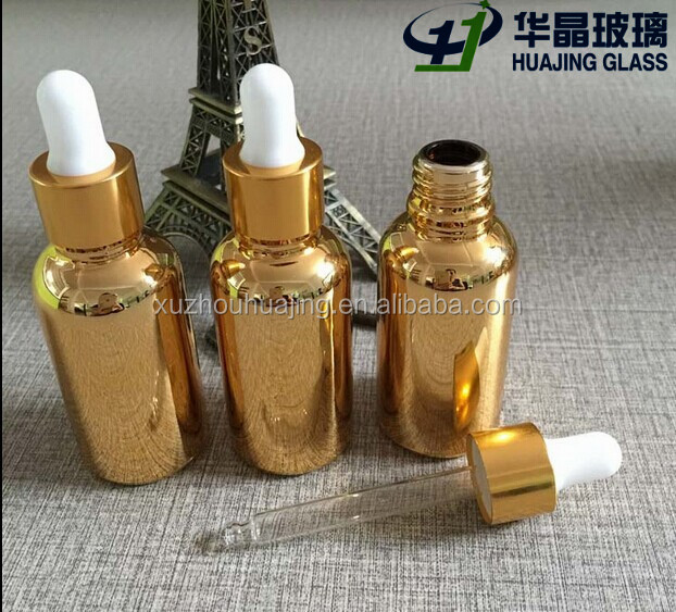 High quality 30ml 1oz electroplate golden color essential oil glass dropper bottle with logo printing wholesale