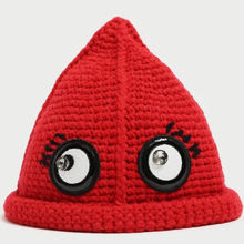Ladies Custom Winter Witch and Wizard Style Peaked Spire Style Coarse Yarn Beanie Hat with Big Eyes Patch