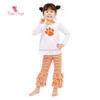Trendy customed halloween children sets long sleeve top and ruffle pant boutique women clothing