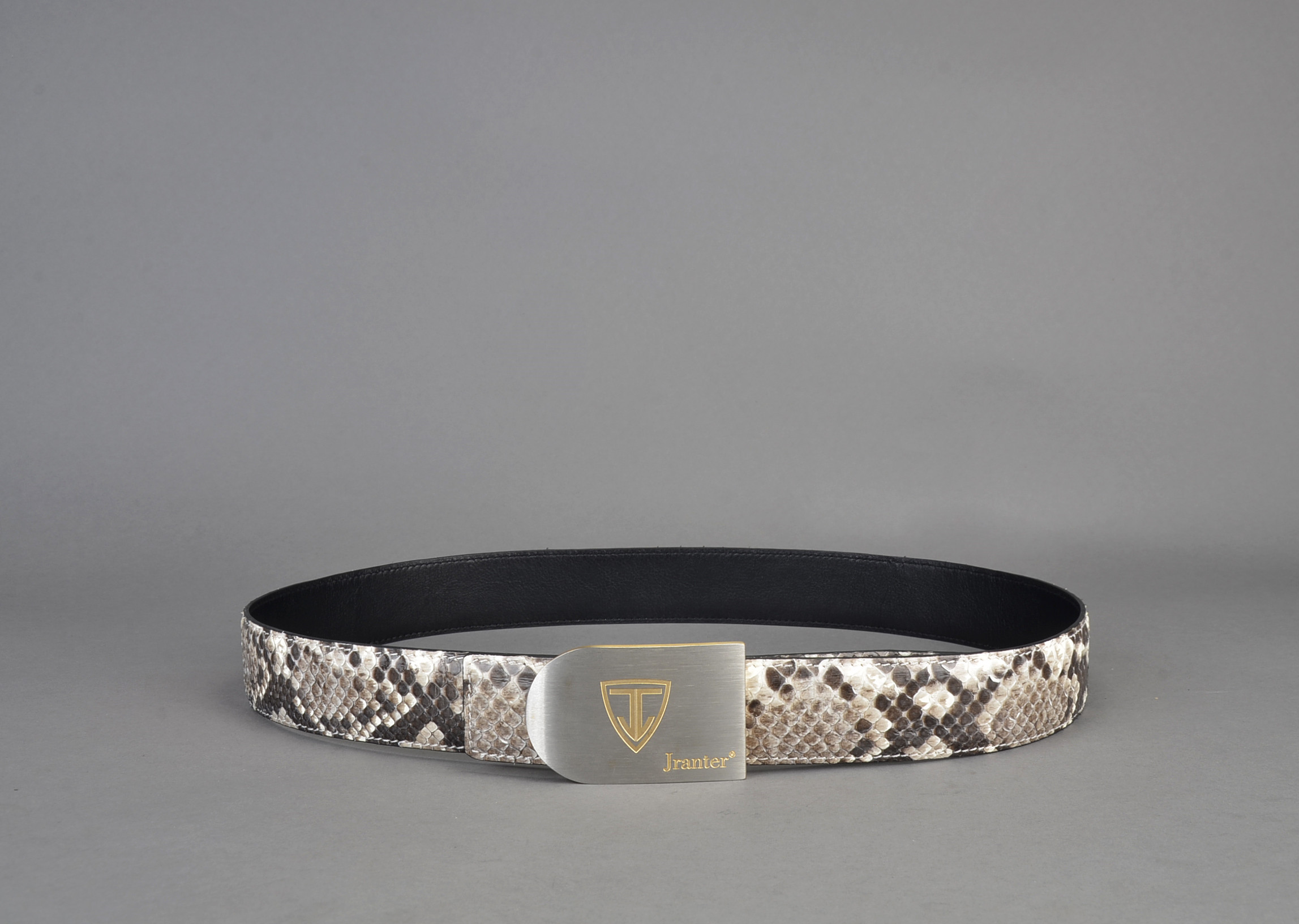 Natural Python Skin 3.8 cm Wide Men's Leather Belt With Buckle