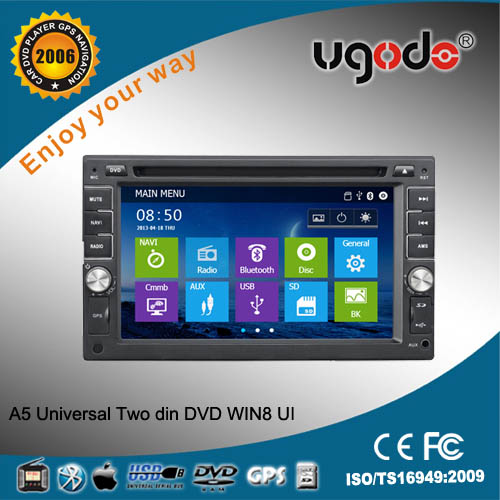 ugode windows Universal two din car dvd built-in gps /bluetooth/ am/fm radio/tv