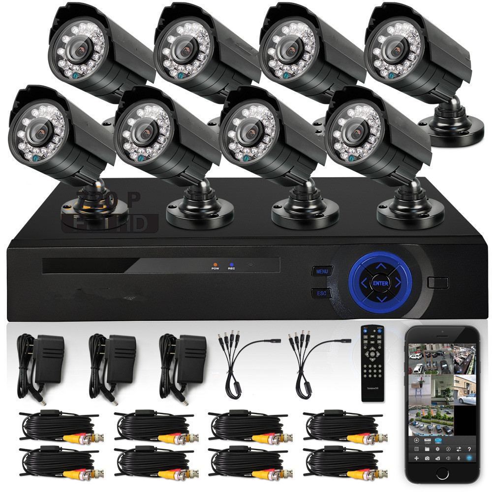 1080P IP HD CCTV KIT 8 x 900tvl Waterproof CCTV Camera Outdoor 8CH + Onvif NVR HVR DVR P2P Home Security System
