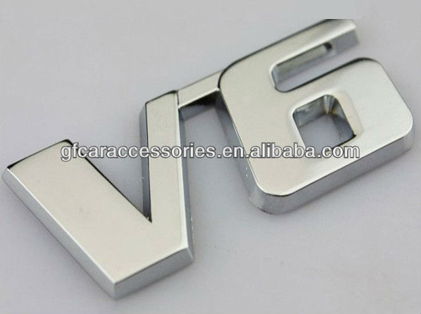 Car Metal Chrome 3D V6 Displacement Emblem Badge truck auto motor sticker decal