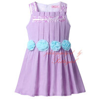 Newest Purple Flower Girls Dresses Cute Cotton Baby Dress Western Styles Wholesale Children Boutique Clothing