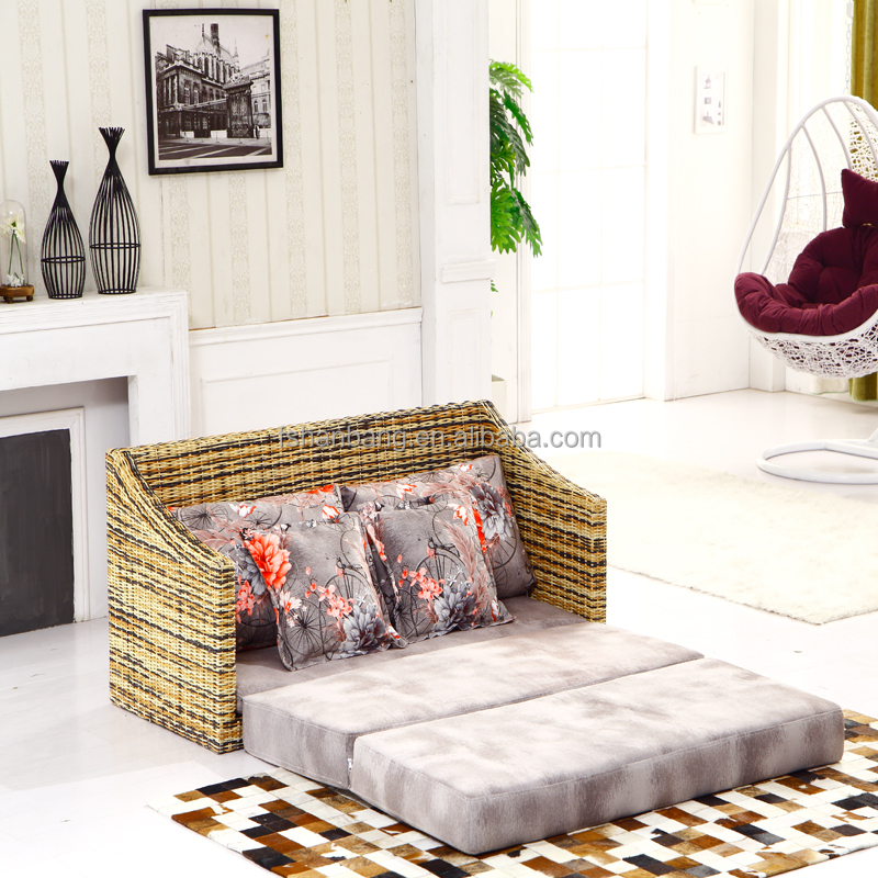 Convertible rattan wicker sofa bed buy sofa bedwicker for Wicker futon sofa bed