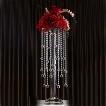 new design beautiful crystal tall flower stand