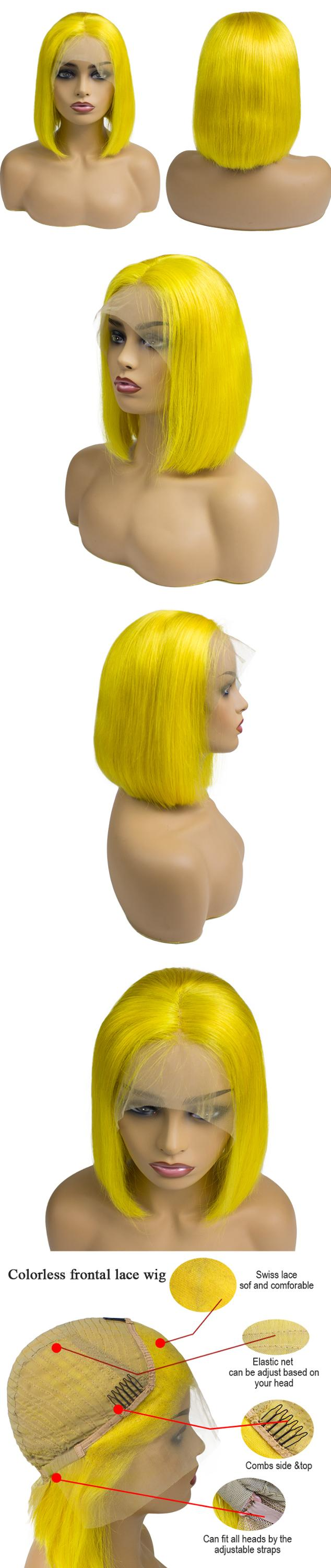 Morein Super Quality Yellow Short Bob Front Lace Wigs 100% Virgin Human Hair No Synthetic Hair Wig Bulk Vendors