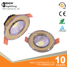 5W Golden +Chrome Frame Lux Adjustable Retrofit Recessed Led COB Spot Light Dimmable