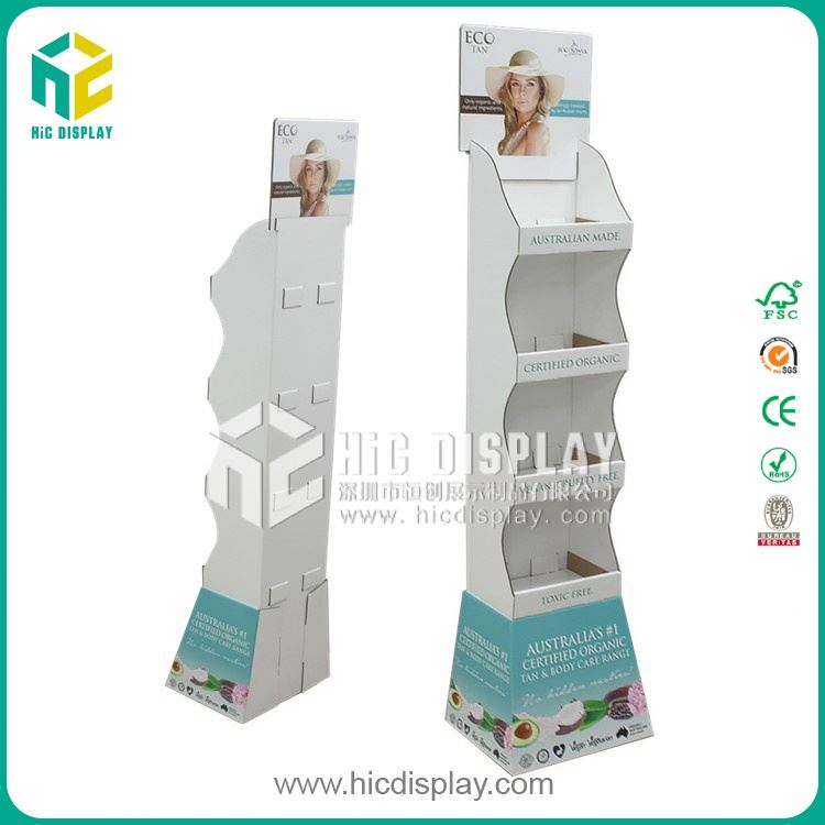 HIC corrugated pocket floor display for soap, skin care corrugated retail display unit