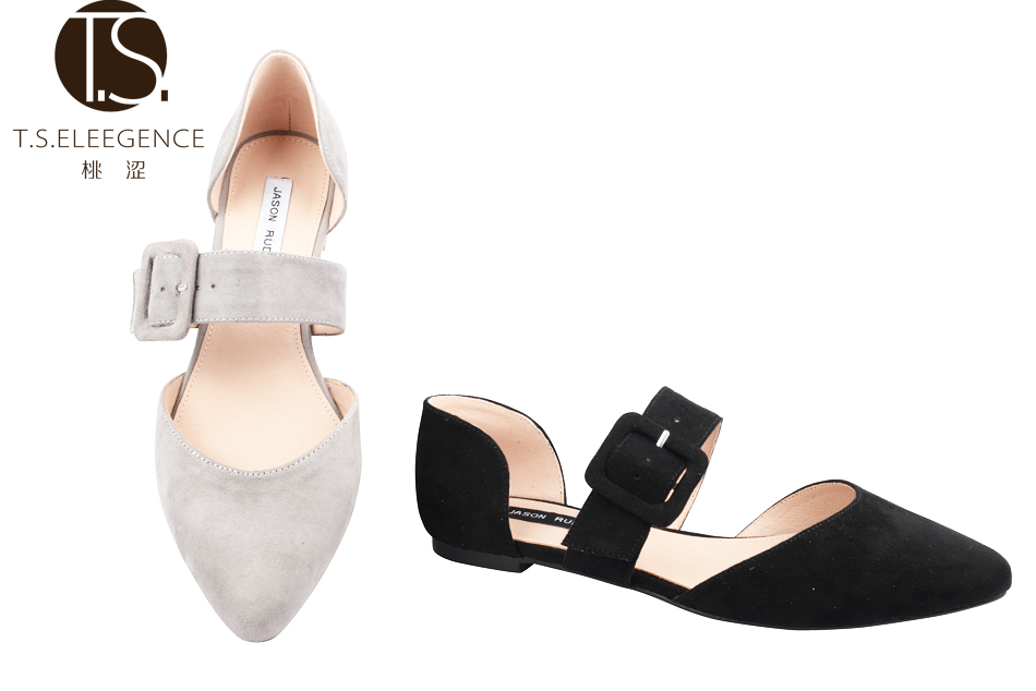 New arrival spring lady suede ballet flat shoes with buckle,sample size uk 4