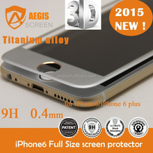 3D Curved Full Covered - Titanium / Aluminium Alloy golden tempered glass screen protector saver for iPhone6 & iphone6 plus