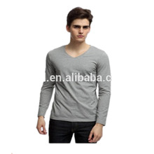 Men's Long Sleeve Quick Dry Fit T shirt Cotton Blank Plain T shirt V-neck Collar T shirt