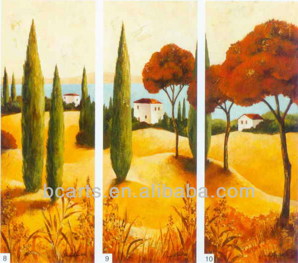 Handmade modern landscape decorative triptych golden autumn scenery oil painting
