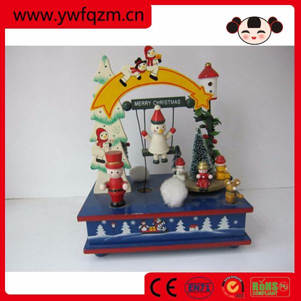 wooden christmas craft pull string music boxes