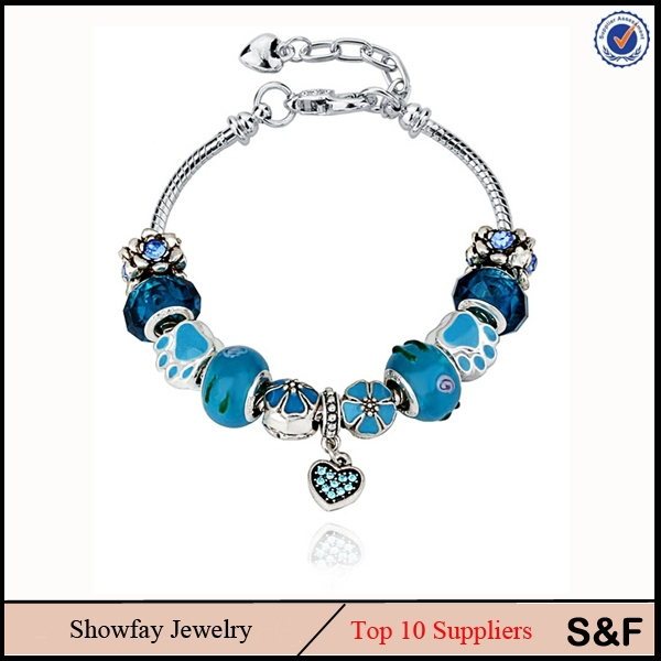 Charm Blue Bracelet Heart Pendnat For Woman Indian Jewellery