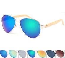 Fashionable aviator wooden sunglasses bamboo for men 2016 Pilot sunglasses(SWTAA2417)