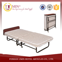 Metal Folding Bed Frame with Wheels/Hotel Single Bed