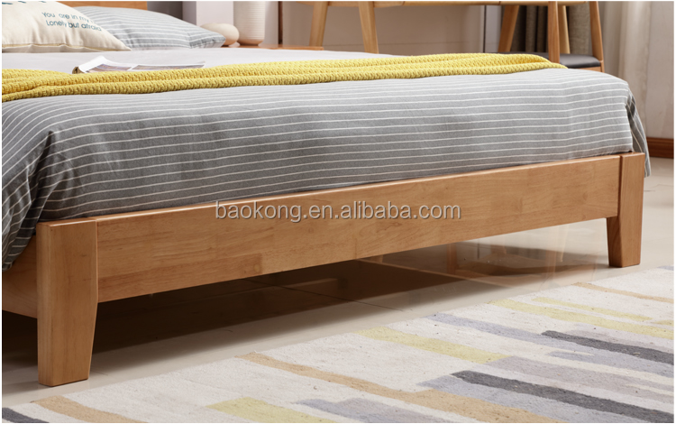 Solid Wood King Bed Rubber Wood Bedroom Furniture