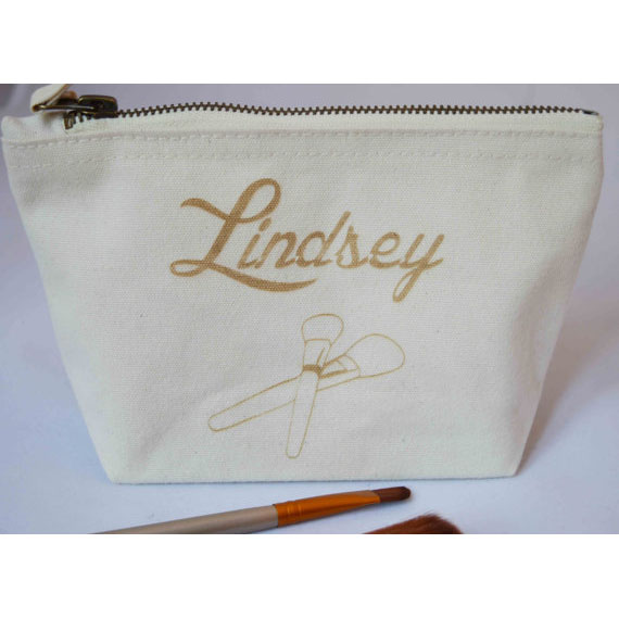 2017 crazy lady golden printing canvas make-up bag