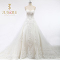 Fashion Chapel Train Lace Up A Line 3D Beaded Appliqued Sweetheart Tulle Ivory Long Wedding Dresses 2016