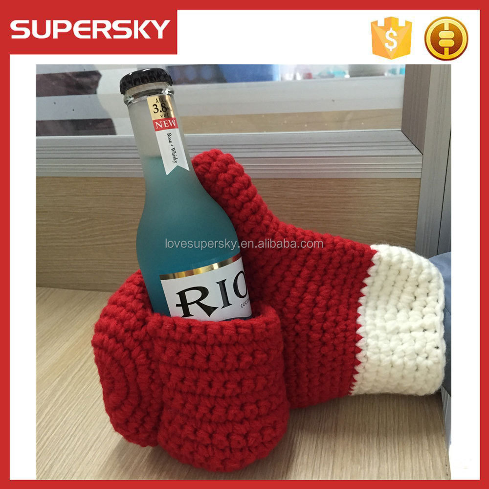 E56 Beer Mitt Knit Beverage Insulating Koozie Drinking Beer Glove