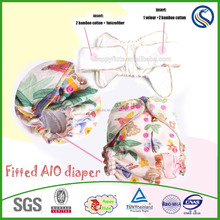 wholesale fitted diaper organic fabric baby diaper fitted bamboo cotton baby cloth diaper