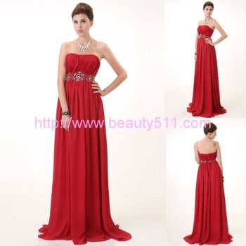 New Design red chiffon party dress sweetheart beads evening prom dress AS065