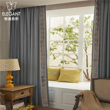 Good sales latest curtain fashion design linen modern fabric door panels curtain
