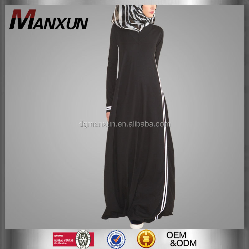 Latest Products In Market Sporty Abaya Chic Latest Burqa Designs Pictures Black and white Dubai Abaya 2016