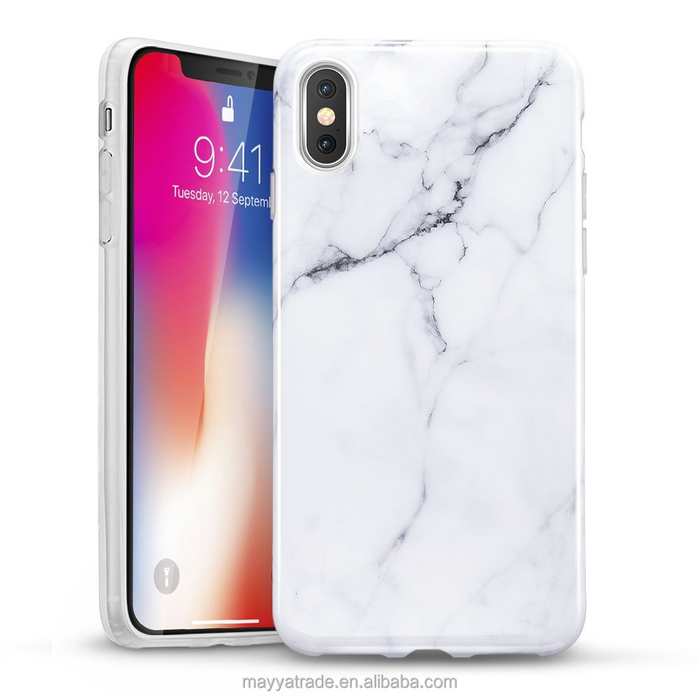 High Quality Hot Selling Glossy Crack Pattern White Marble Bumper Protect TPU Case for iPhone X 8 8Plus 10