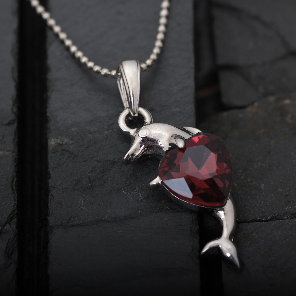 Fashion design dolphin hung Red rhinestone pendant necklace with silver ball chain in necklace