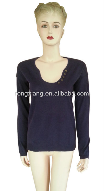 2014Special design collar fashion knitted pullover sweater for women