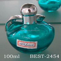100ml blue green apple shaped silver cap antique bottle glass perfume