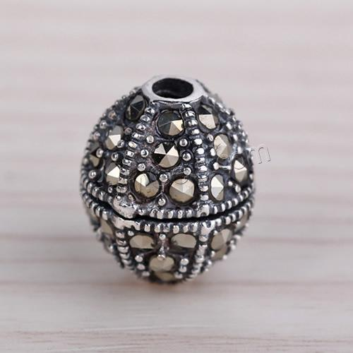 Thailand Sterling Silver Other Shape Rhinestone 12mm Sterling Beads 885348