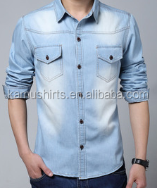 2015 fashion Korean men Jeans shirts/slim fit men Jeans shirts