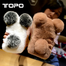 Winner Warmer Soft Rex rabbit Fluffy Fur ball tpu Mobile Phone Case Cover for iphone X 5 6 7 8 plus
