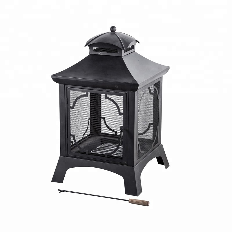 OL-F172 black outdoor wood burning garden firepit