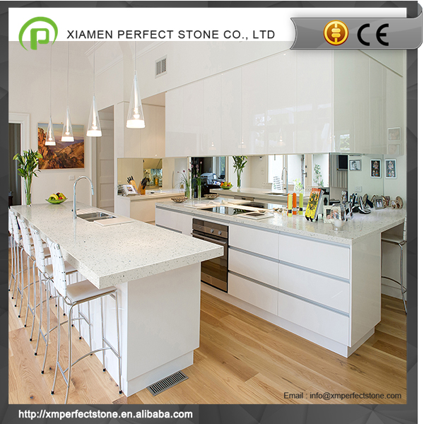 Kitchen countertop crystal white quartz with sparkle quartz stone